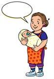 Mère ou bonne d'enfants drôle avec le bébé Photographie stock libre de droits