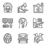 MRI black simple line icons set Royalty Free Stock Photography