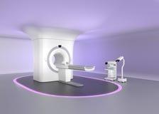 MRI-de ruimte met naadloos plafondontwerp, maakt stemming ontspannen om de spanning van de patiënt te verminderen stock foto