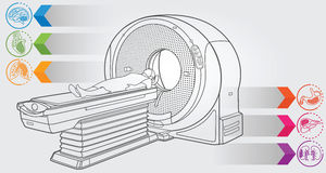 MRI diagnostic. Illustration of MRI machine with simple design elements, clean line art for web and print design appealing for medicine theme Royalty Free Stock Images