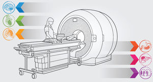 MRI diagnostic. Illustration of MRI machine with simple design elements, clean line art for web and print design appealing for medicine theme Stock Image