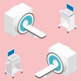 MRI and ECG medical devices isometric icon set Stock Photos