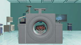 MRI Hospital, Camera Fly Through and stop on Brain Scan, stock footage Stock Photography