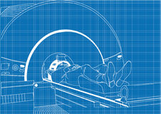 MRI 2. Illustration of a person in an MRI scanner done in the style of a blueprint drawing Royalty Free Stock Photography