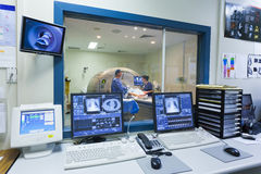 MRI machine and screens royalty free stock images