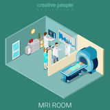 MRI MRT room hospital interior equipment flat isometric vector Stock Photo