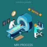 MRI process medical hospital tomography flat isometric vector 3d Stock Images