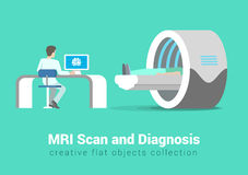 MRI scan and diagnostics process: vector flat healthy, hospital. MRI scan and diagnostics process. Hospital patient and doctor in procedure room interior Royalty Free Stock Photo