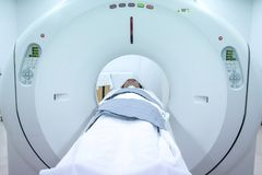 MRI Scanner medical equipments in hospital. Patients screening on CT scanner. stock photos