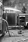 Mriehel Fire. MRIEHEL, MALTA - APR 12 - Firefighters battle a fierce fire which engulfed Drop Chemicals Ltd factory which specialises in the production of stock image