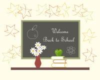 Mörk grå svart tavla med den vita bokstävervälkomnandet tillbaka till den röda vasen för skola med vita blommor, gröna Apple på b Royaltyfri Bild