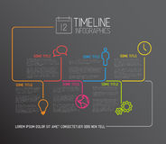 Mörk mall för Infographic timelinerapport med linjer Royaltyfri Foto