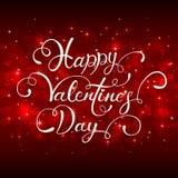 Märka lycklig valentindag med hjärtor på röd bakgrund Arkivfoton