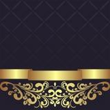 Mörker - blå geometrisk bakgrund dekorerade den guld- blom- gränsen Royaltyfri Bild