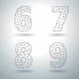Märker det stilfulla alfabetet för vektoringreppet nummer 6 7 8 9 Royaltyfri Fotografi
