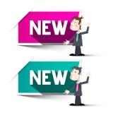 märker nytt Nya etiketter för pappers- vektor Royaltyfri Bild