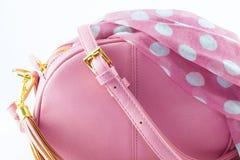 Märkes- handväska och halsduk Royaltyfria Bilder