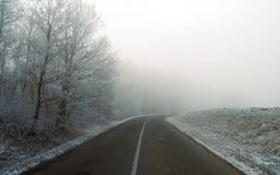 Mroźna zima ranku droga w Węgry Zdjęcie Royalty Free