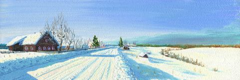 Mroźny zima dzień w wiosce zdjęcie stock