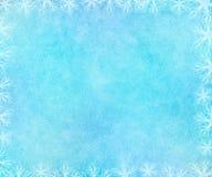 Mroźny zimy tło z rozjarzoną płatek śniegu ramą royalty ilustracja