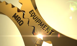 MRO do equipamento nas engrenagens douradas da roda denteada 3d Fotografia de Stock