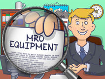 MRO Equipment through Magnifying Glass. Doodle Design. Stock Images