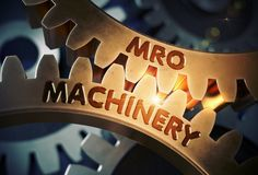 Mro-maskineribegrepp Guld- cogwheels illustration 3d stock illustrationer
