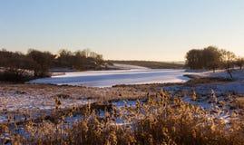 Mroźny ranku krajobraz Fotografia Royalty Free