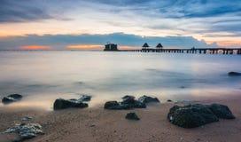 Mroczna drewno mosta atrakcja turystyczna Obrazy Royalty Free