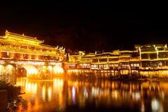 Mroczna scena Fenghuang antyczny miasto Zdjęcia Stock