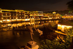 Mroczna scena Fenghuang antyczny miasto Obrazy Stock