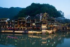Mroczna scena Fenghuang antyczny miasto Obraz Stock