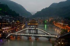 Mroczna sceneria Phoenix miasteczko (Fenghuang antyczny miasto) Fotografia Royalty Free