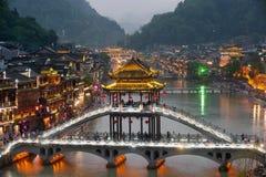 Mroczna sceneria Phoenix miasteczko (Fenghuang antyczny miasto) Obrazy Stock