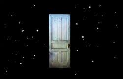 Mrocznej strefy Stary drzwi w przestrzeni Zdjęcia Royalty Free