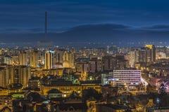 Mroczni miast światła w Brasov Zdjęcia Royalty Free