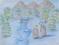 mroczny dzień niebieski oddział stać się drzew zimy śnieżną nieba Zdjęcia Royalty Free