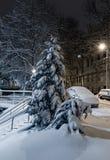 Mroczny zimy Lviv miasto, Ukraina zdjęcia royalty free