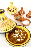Mrouzia - Marokkaanse Tagine met Rozijnen, Amandelen Royalty-vrije Stock Fotografie
