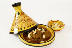 Mrouzia - Moroccan Tagine with Raisins, Almonds an stock photos
