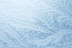 Mrozów wzory na nadokiennym szkle w zimie przyprawiają tekstury szkła tekstura niebieska tła zdjęcie royalty free