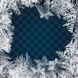 Mrozowy szkło wzór Zimy rama na przejrzystym tle Wektorowa Bożenarodzeniowa ilustracja Zamarznięty nadokienny ornament Rama dla C ilustracji