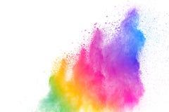 Mrozu ruch barwioni prochowi wybuchy odizolowywający na białym tle Koloru pyłu cząsteczka splattered na tle fotografia stock