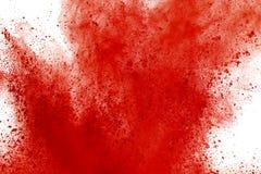 Mrozu ruch czerwieni prochowy wybuchać, odizolowywający na białym tle Abstrakcjonistyczny projekt czerwona pył chmura Cząsteczka  obraz stock