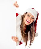 Mrs. Claus with a banner Royalty Free Stock Photography