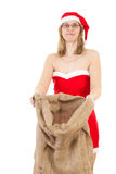 Mrs. Claus with big jute bag Stock Photography