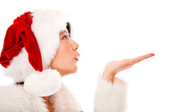 Mrs Claus blowing kisses Stock Photos