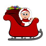 Mrs. Claus on a christmas sledge royalty free illustration