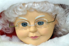 Mrs. Claus. Close up of old fashioned Mrs. Santa Claus doll face Royalty Free Stock Photography