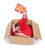 Mrs Claus with gift box Stock Photo